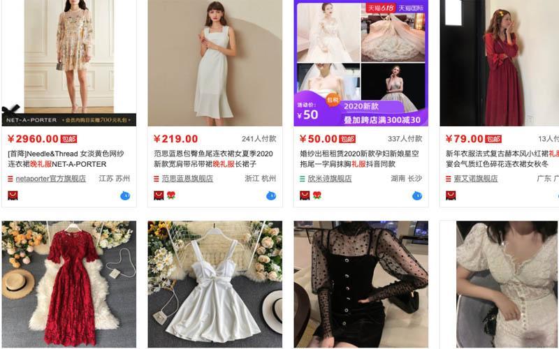 Các mẫu váy được bày bán trên Taobao Quảng Châu rất đa dạng